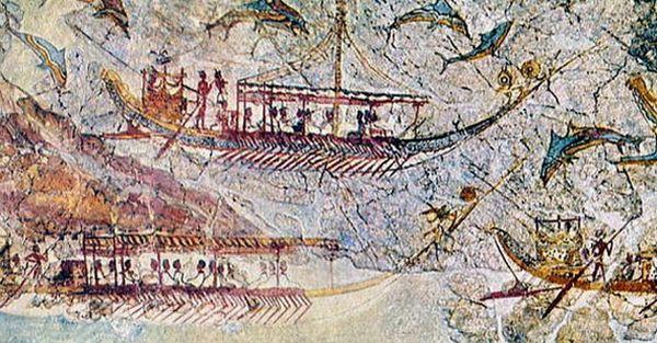 サントリーニ島出土の壁画 船団