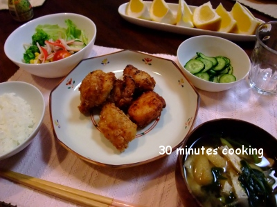醤油麹DE鶏のから揚げとサラダ