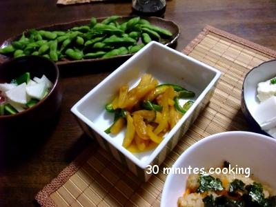 炊き込みご飯とさっぱり副菜色々ご飯