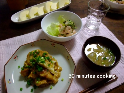 変わり親子煮と海老マヨブロッコリーサラダ