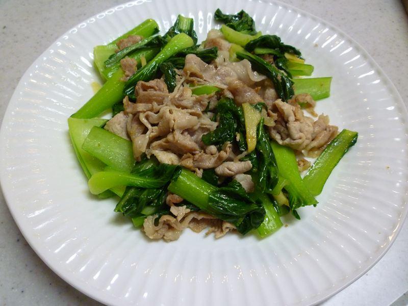 チンゲン菜と豚肉のショーガ風炒め