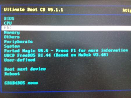 「Ultimate Boot CD v5.1.1」 > HDD