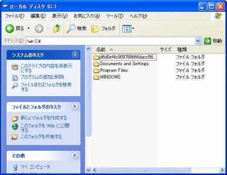 隠しファイルと隠しフォルダ、システムファイル非表示の様子