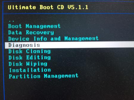 「Ultimate Boot CD v5.1.1」 HDD > Diagnosis