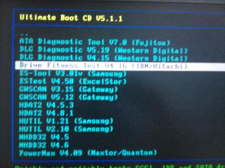 「Ultimate Boot CD v5.1.1」 Diagnosis > Drive Fitness Test v4.16
