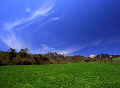 緑の草原に映える雲と残雪の峰