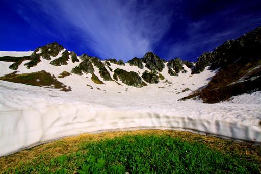 残雪と芽吹く植物と宝剣岳
