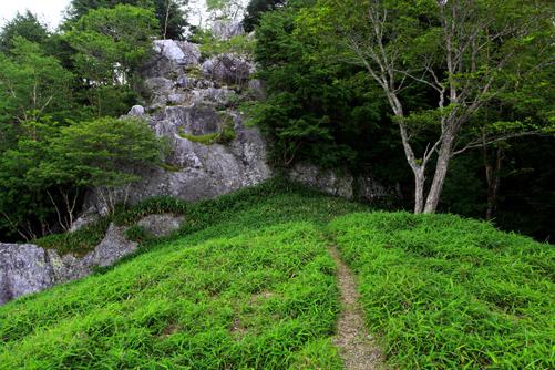 御池山の山頂は岩塔