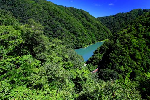 深い谷を造る天竜川に並行する飯田線