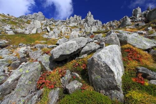 紅葉彩る中岳針峰群