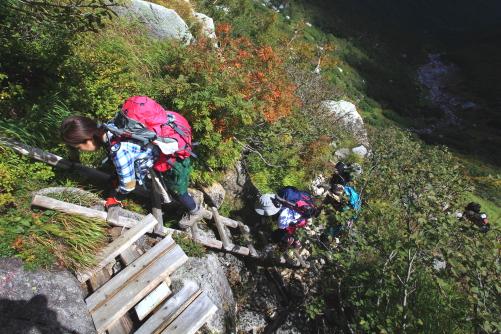 最後の急斜面の登攀