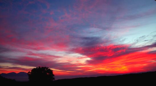 浅間山と朝焼け雲