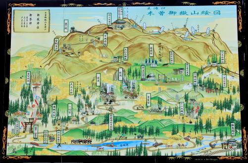 壮大な御岳神社の絵図