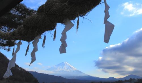 注連縄飾りと霊峰富士