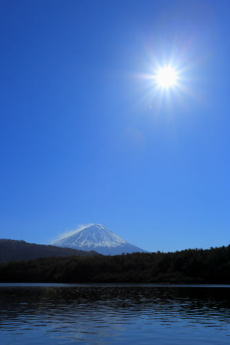 太陽と富士山・西湖にて