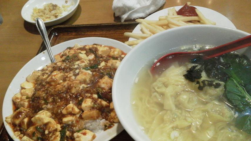 ワンタン麺+麻婆丼+ポテト