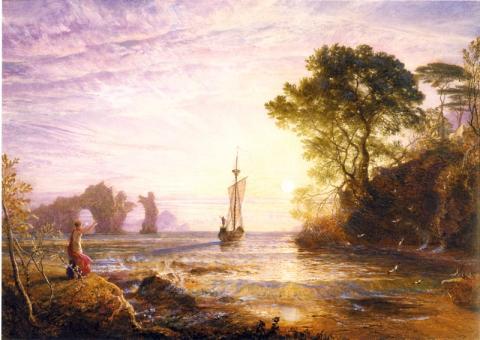 カリュプソの島、オデュッセウスの船出(1848) サミュエル・パーマー