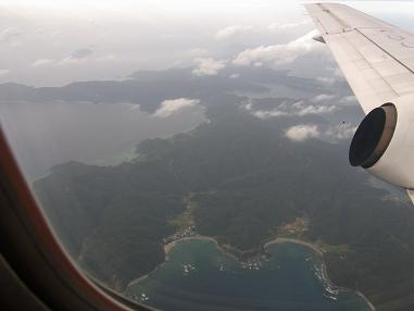 奄美大島上空徳之島
