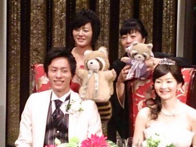 結婚式雛壇4人とあらたあらすけ
