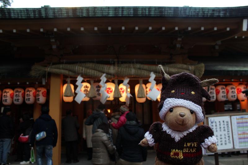 小梳神社社殿前で 130101