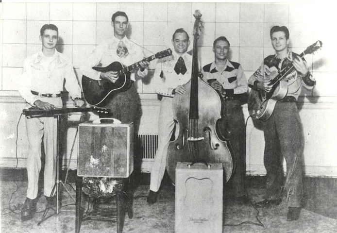 Bob Manning and his Riders of the Silver Sage, Dallas or Paris, Tx. (c.1948) Dude Recording Artists. LtoR Bobby Koefer, Johnny Rector, Bob Manning, Pee Wee Reid, Bill Carson.