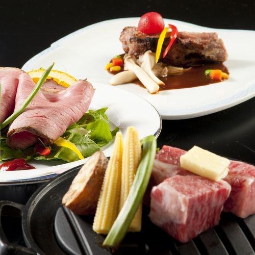 肉料理スペアリブローストビーフステーキ