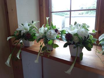 藤井さん結婚式窓辺の花前日