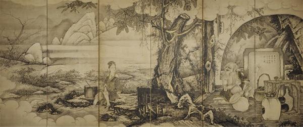 龐居士・霊昭女図屏風 (見立久米仙人)ボストン美術館 日本美術の至宝