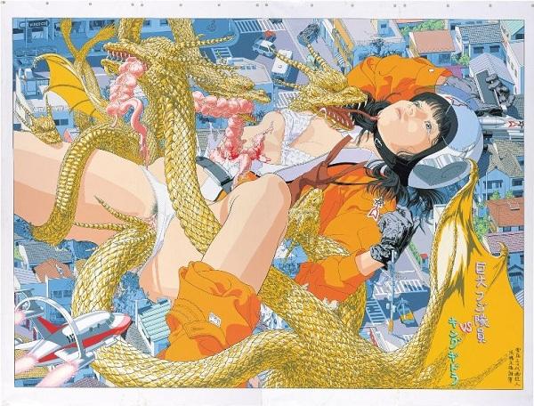 会田誠『巨大フジ隊員VS キングギドラ』(1993)高橋コレクション蔵