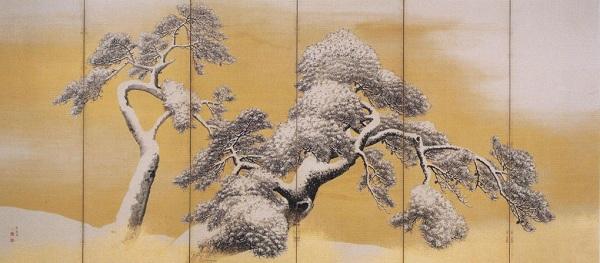 円山応挙『雪松図屏風』左隻