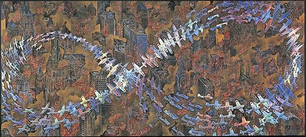 会田誠『紐育空爆之図-にゅうようくくうばくのず-(戦争画RETURNS)』(1996年)