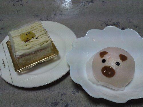 ケーキと豚まん
