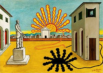 《燃え尽きた太陽のあるイタリア広場、神秘的な広場》
