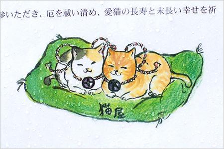 猫神神社の説明を書いた看板の挿絵が可愛い