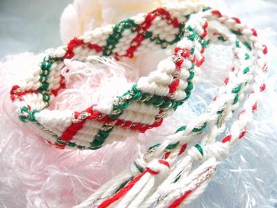 ジグザグラインのクリスマスミサンガ