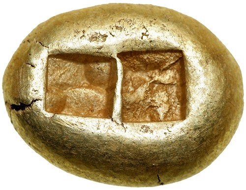 リュディア王国 エレクトルム 秤量貨幣 B.C 650~最大14ミリ 量目4,7グラム  2