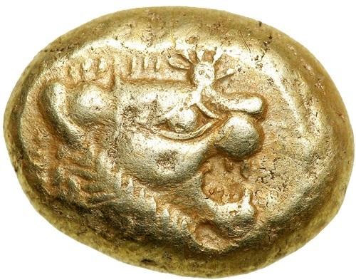 リュディア王国 エレクトルム 秤量貨幣 B.C 650~最大14ミリ 量目4,7グラム