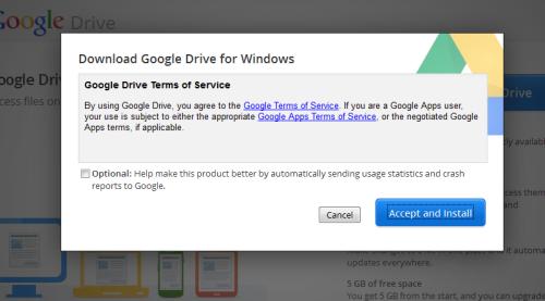 Windows用Googleドライブインストール 確認画面