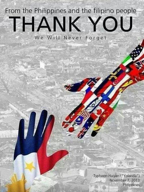 フィリピンが、台風被害支援に対して、感謝の気持ちを伝えるために支援国の国旗を組み合わせて作った広報ポスター