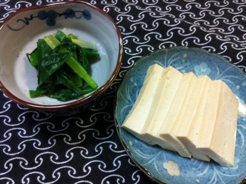 豆腐の味噌漬けとワケギの酢味噌和え