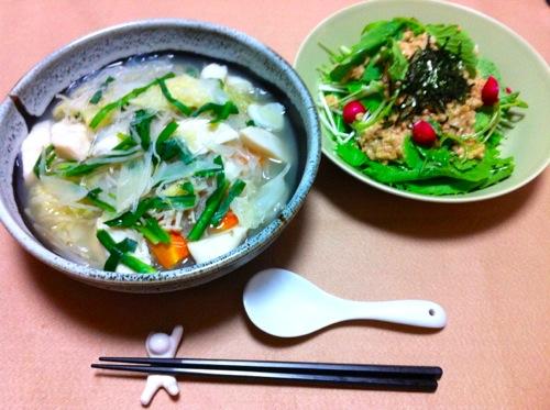 太平燕と納豆サラダ