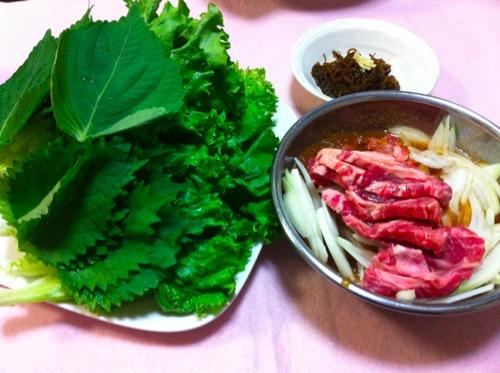 葉野菜とラム