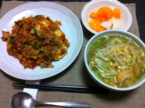 キムチチャーハン納豆入り