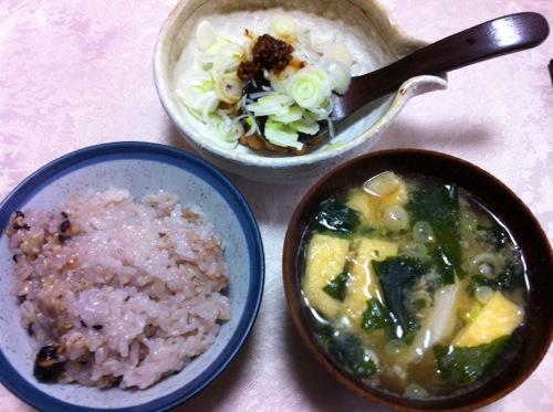 雑穀米・味噌汁・納豆