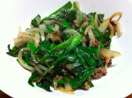 トッピングの肉野菜炒め