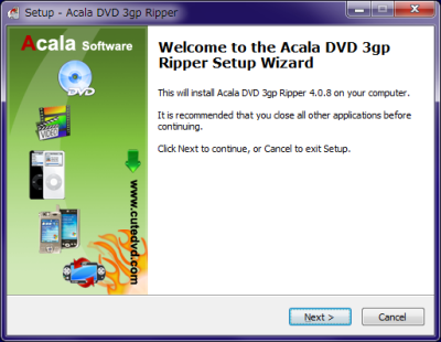 Acala DVD 3gp Ripper Setup Wizard
