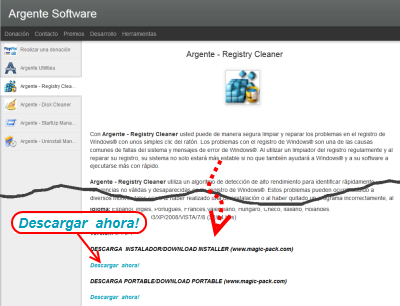 Argente - Registry Cleaner ダウンロードページ