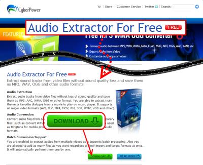 Audio Extractor for FREE ダウンロードページ