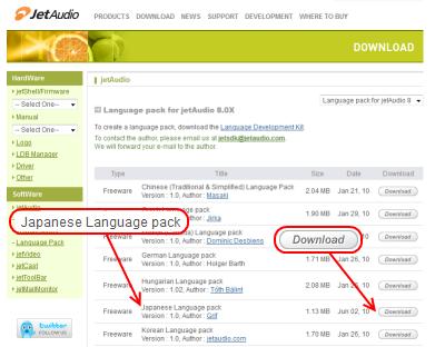 JetAudio 言語パックダウンロードページ