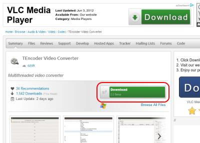 TEncoder Video Converter ダウンロードページ